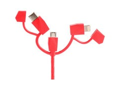 Outdoor Tech Calamari 2.0 3in1 Charge Cable One Size Red  click to zoom image