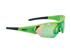 BBB Summit Sport Glasses Matte Green, Black Tip, Green Lens