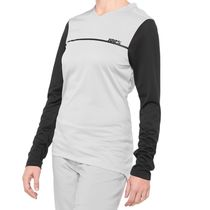 100% Ridecamp Women's Long Sleeve Jersey Grey / Black