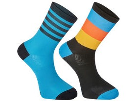 Madison Sportive mid sock twin pack, block stripe black/cyan blue