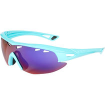 Madison Recon glasses - gloss blue curaco frame, purple blue mirror lens