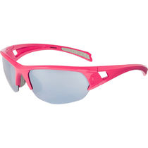 Madison Mission glasses - gloss rose red frame, silver mirror lens